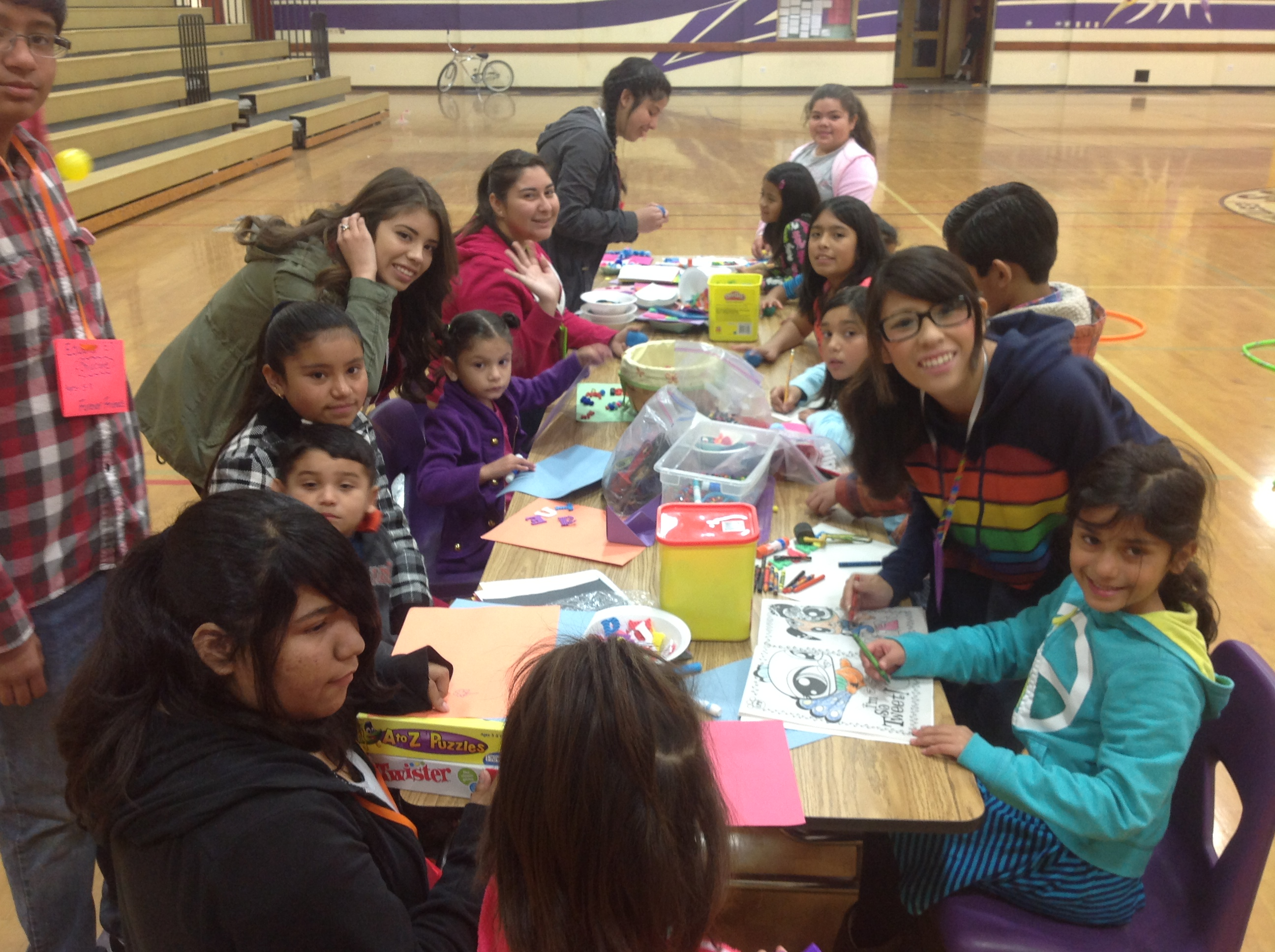 Craft Table with High School mentors and kids