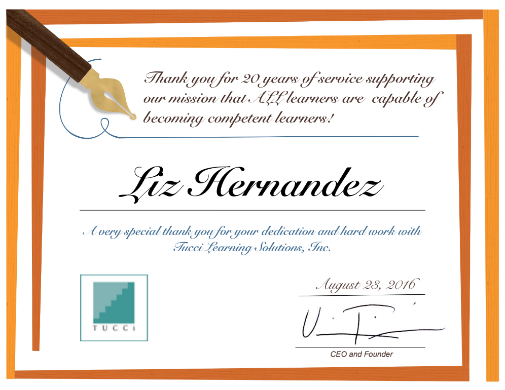 Liz' 20yr with Tucci Certificate
